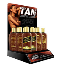 body butter tanning lotion bottle display